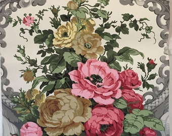 Beautiful 19th C. French Zuber Floral and Scroll Wallpaper (2253)