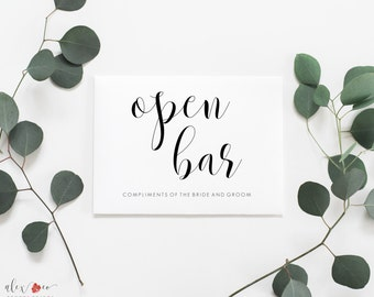 Open Bar Printable Sign. Open Bar Wedding Sign. Open Bar Sign. Wedding Bar Sign. Wedding Reception Signs. Wedding Reception Printables.