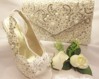 Lace Wedding shoes, Pearl and Crystal Gems Open Toe Bridal Shoe with matching bag.