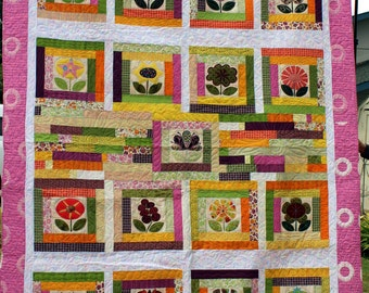 Flower Patches In my GardenQueen Size Quilt