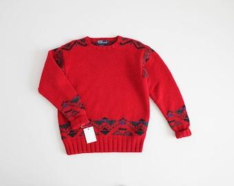 heavy red wool sweater | 90s ski sweater | ralph lauren sweater