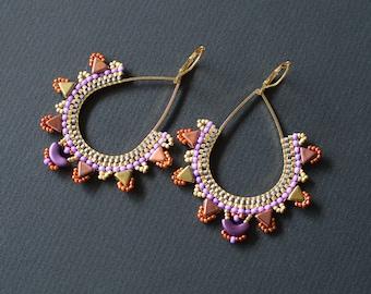 Purple and Orange Earrings, Teardrop Earrings, Golden Earrings, Bollywood Style Earrings, Boho Chic, Indie Earrings, Chandelier Earrings
