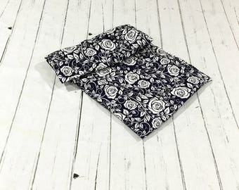Large Navy Floral Heating Pad, Washable Cover, Therapy Pillow, Heat Pack, Microwave Heating Pad, Aromatherapy Pillow, Heating Pad Cover