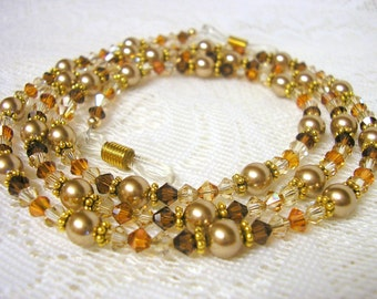 Swarovski Crystal and Pearl Eyeglass Chain Lanyard in Topaz and Gold, Reading Glasses Chain, Swarovski Crystal Lanyard, Autumn Glasses Chain