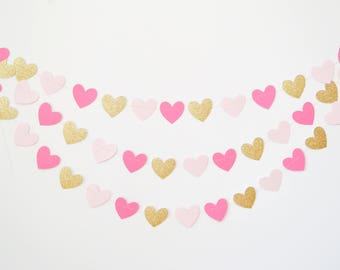 pink and gold heart garland, gold and pink garland, valentines garland, paper heart garland, heart banner, heart bunting, heart decor