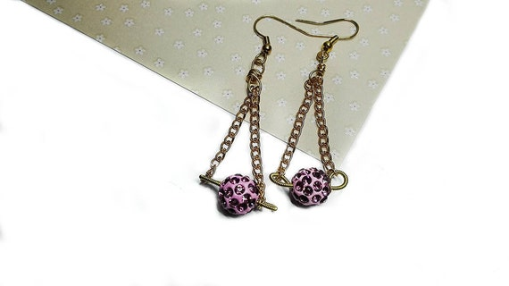 Pink Bead Dangling Earrings