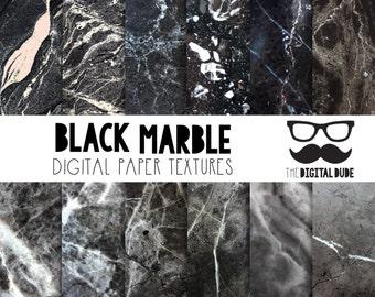 Premium Digital Paper Set, Black Marble, Digital Paper, Scrapbook Paper, Digital Marble Texture, Stone, Instant Download