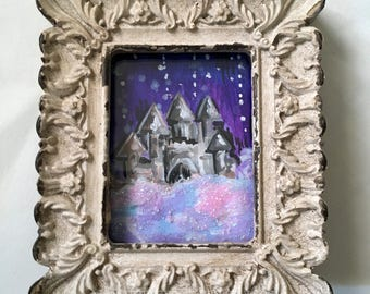 Fantasy Castle Framed mini-painting, gouache, approx 3 inches tall