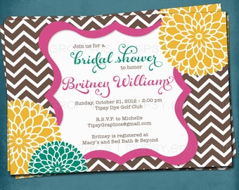Chevron Mums Baby / Bridal Shower Invite. Brown Pink Teal Yellow.  Any colors and text. Spa Pom Pom. by Tipsy Graphics.
