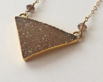 delicate gold necklace with dusty rose druzy pendant and andalusia accents