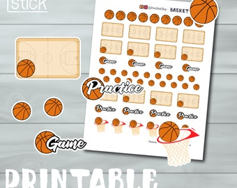 Basketball Planner Stickers - PRINTABLE - Keep track of every Basketball game / practice. Perfect for Erin Condren or any other planner!