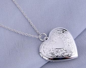 Heart Locket Silver Pendant Necklace