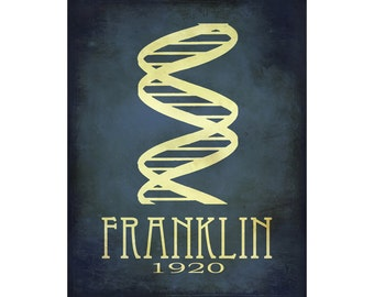 Science Art Print 12x18 Rosalind Franklin Steampunk Double Helix DNA Rock Star Scientist Physics Diagram Educational Poster Geek Chic Decor