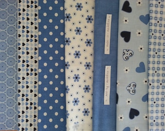 Sewing Kit to make 7 printed cloth wipes child blue and white Terry cloth