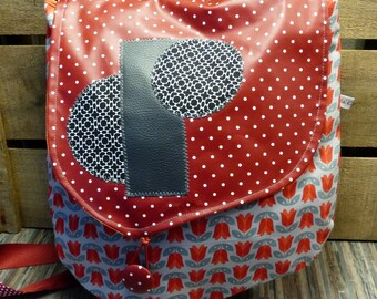 S352 bag fabric with red tulips and flap red oilcloth with dots