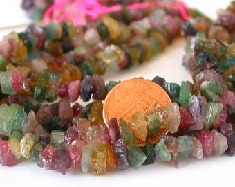 "15"" Tourmaline 5mm - 7mm Multi Color rough freeform nuggets gemstone beads  - full strand"