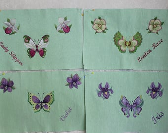 Set of 4 Flower/Butterfly Embroidered Placemats