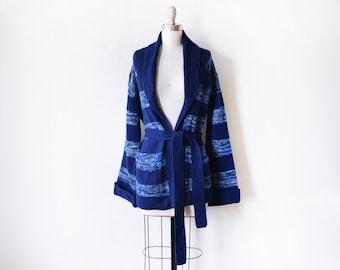 striped wrap cardigan, vintage 70s  wrap sweater, space dye blue 1970s belted cardigan, medium large
