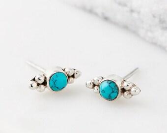 Stud Earrings,Turquoise Earrings,Boho Earrings,Bridesmaid Earrings,Bridal Earrings,Silver Earrings,Gemstone Earrings,Gypsy Earrings JE225