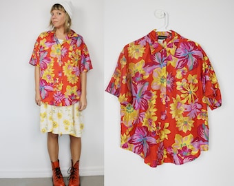 Silk Floral top circa the 80s - early 90s // size small medium // unisex // red, yellow, fuchsia // urban, boho, hipster