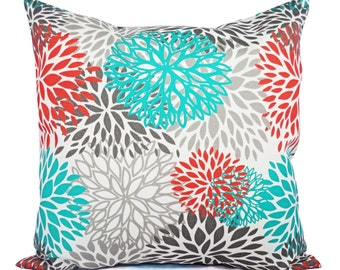 Indoor Outdoor Pillows - Two Turquoise and Orange Throw Pillow Covers - Couch Throw Pillow Cushion Cover Turquoise Orange Grey Pillow