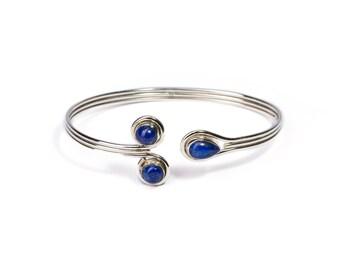 Lapis Lazuli Gemstone Sterling Silver Cuff Bracelet Adjustable Birthstone Bracelet Silver Bangle Gift Boxed + Giftbag + Free UK Delivery