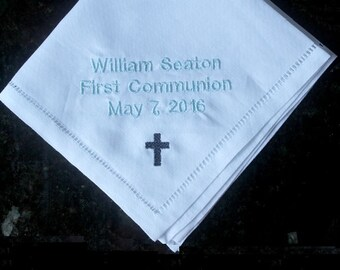First communion gift, boy communion memento, embroidered handkerchief, communion memento gift, personalized communion gift, first communion