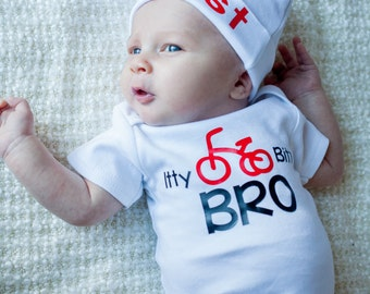 Baby boy bodysuit Itty Bitty Bro..new sibling newborn take home outfit - Newborn boy hospital gown - Baby Boy Gift - Hat Sold Seperately
