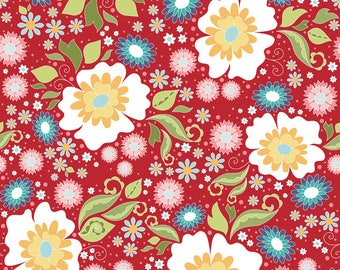 By The HALF YARD - Apple of My Eye by The Quilted Fish for Riley Blake, #C2890-Red Main Floral, White, Yellow, Blue, Pink Flowers on Red