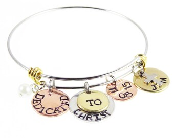 Baptism Jewelry - Christian Jewelry - Dedicated to Christ Bracelet - Personalized Hand Stamped Bangle Bracelet - Expressions Bracelets
