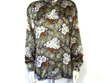 Escada silk flower printed blouse Mandarin collar size 40