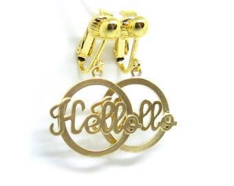 HELLO Cursive Word Gold Clip-On Earrings