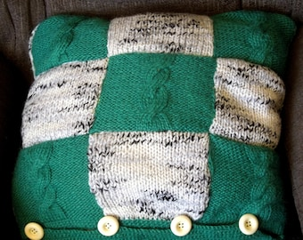 Knitted pillow, cushion cover, green and grey