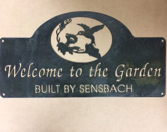 Metal Garden sign with hummingbird and YOUR name