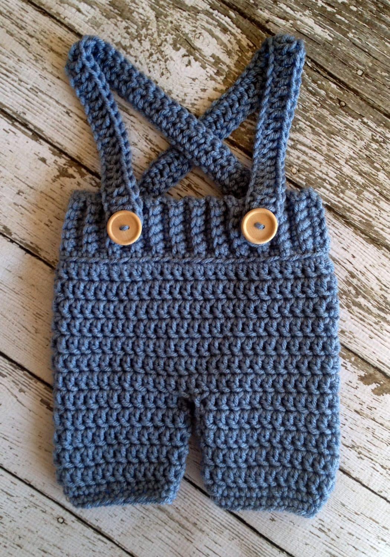 Häkeln Baby Shorts/Hose mit Hosenträgern Überhose in