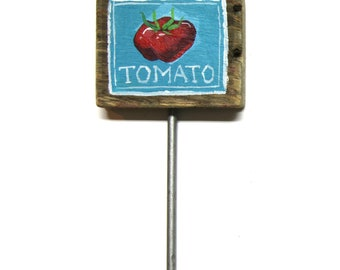 Tomato plant sign - handpainted reclaimed wood garden plant tag