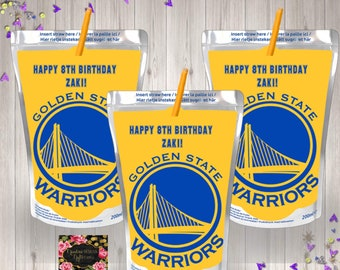 Golden State Warriors Inspired Juice Pouch Labels/Golden State Warriors Caprisun Labels/Golden State Warriors Water Labels/Golden State
