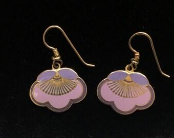 Laurel Burch Cherry Blossom Flower Earrings