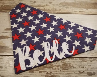 Personalized Navy Blue Dog Bandana, Stars, July 4th, over the collar, boy dog, girl dog, custom bandana, dog scarf, Indepence Day