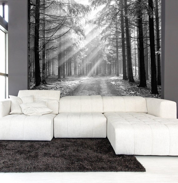 Items Similar To Wall Mural Black And White Of Coniferous