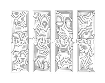 Bookmarks Coloring Page, Psychadelic Pattern, Zentanlge Inspired Instant Download PDF Sheet 13