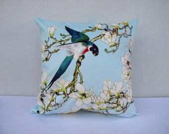 Flower Bird Pillowcase Flowers Pillow Bird Cushion Sitting Birds Blue Pillowcase