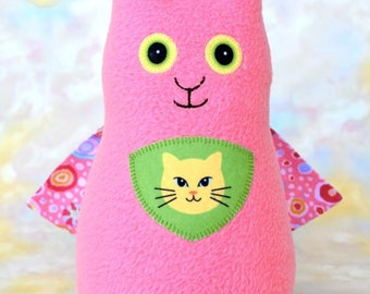 Persistent Kitten Pussy Cat Stuffed Animal, Medium Pink Fleece, Personalized Tag, Superhero Plush Kids Baby Toddler Toy, 9 inch