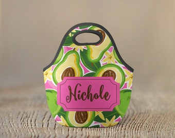 Personalized Lunch Bag - Avocado - Monogram Lunch Bag Name Lunch Bag Insulated Lunch Bag Neoprene Lunch Bag Preppy Lunch tote School Lunch