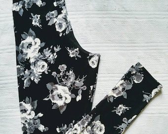 Floral leggings for woman gray on black in double brushed polyester with black cotton yoga waistband