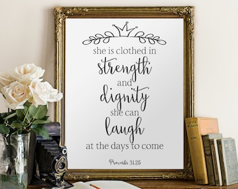 She is clothed in strength and dignity, Nursery wall art, Nursery bible verse, Nursery wall art christian, Proverb 31, Scripture art, BD-185