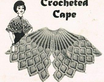 Ladies pineapple lace crochet cape vintage pattern PDF instant download