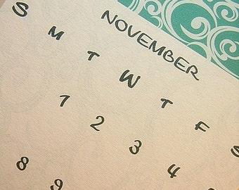 Vertical 16 Month Calendar -  Wall Calendar - Hanging Calendar - Personalized Calendar - Aqua Blue Calendar - Feminine Calendar