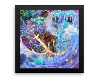 Colorful Water Dragon Mermaid Fantasy Magical Festival New Age Visionary Framed Poster