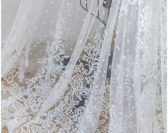 Floral lace design, heavy embroidered bridal lace fabric, Wedding lace fabric, Berta Bridal lace, Flower lace - off-white - (L17-006)